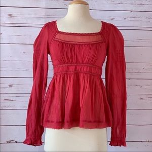 NWT FREE PEOPLE strangers in love red top